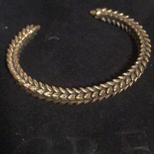 J. Crew gold-colored wheat pattern cuff bracelet